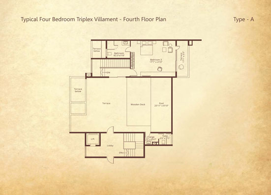 4-bedroom Triplex Fourth floor Type A floorplan