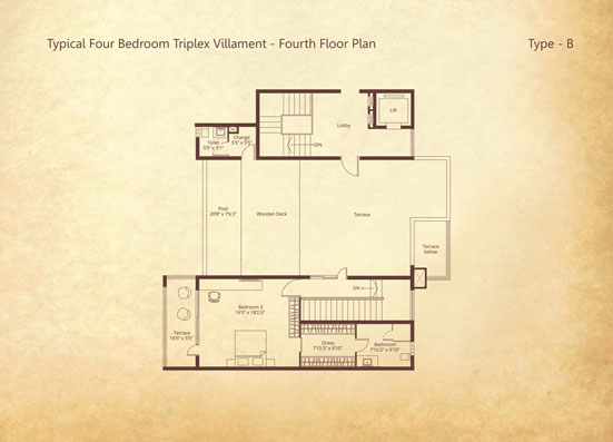 4-bedroom Triplex Fourth floor Type B floorplan