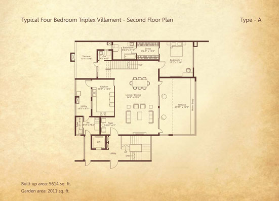 4-bedroom Triplex Second floor Type A floorplan