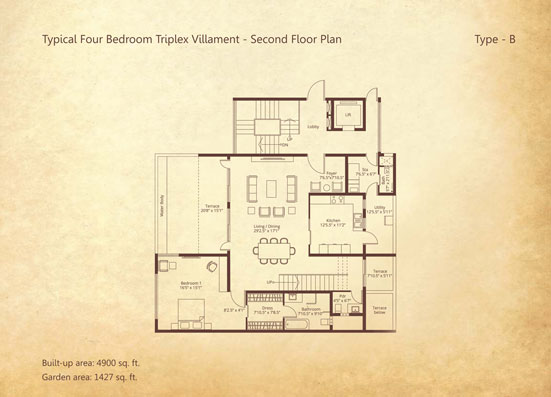 4-bedroom Triplex Second floor Type B floorplan