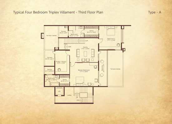 4-bedroom Triplex Third floor Type A floorplan