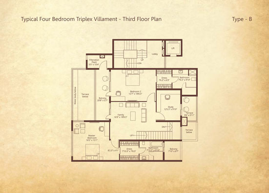 4-bedroom Triplex Third floor Type B floorplan